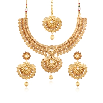 Gold Plated Traditional Necklace Set With Earrings & Maang Tikka For Women Ms115