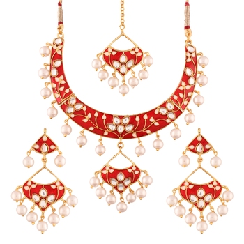 Gold Plated Kundan Meenakari Necklace Jewellery Set for Women