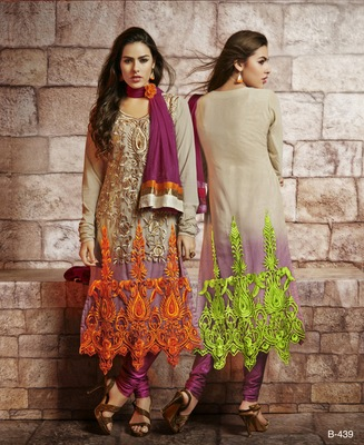Beige embroidered Georgette stitched salwar with dupatta