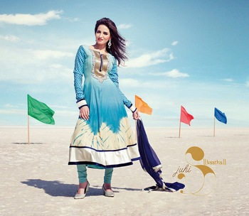 Blue embroidered Cotton stitched salwar with dupatta