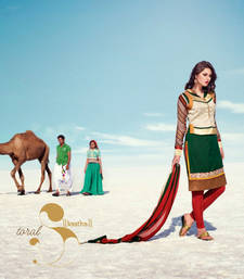 Buy Green embroidered Silk Cotton stitched salwar with dupatta readymade-suit online