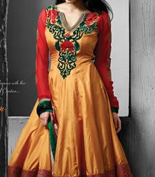 Buy Orange embroidered Silk stitched salwar with dupatta readymade-suit online