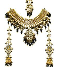 Gold Plated Black Beads Antique Pachi Kundan Polki Necklace Set