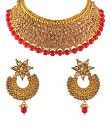 Gold Plated Polki Crystal Choker Red Beads Wedding Necklace Set