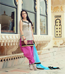 Buy Beige embroidered Silk stitched salwar with dupatta readymade-suit online