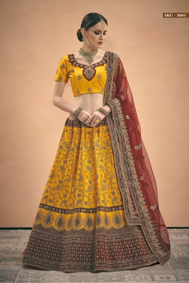 Mustard Embroidered Satin Semi Stitched Lehenga