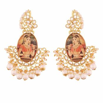 Traditional Gold Plated Padmavati Kundan & Pearl Earrings For Women