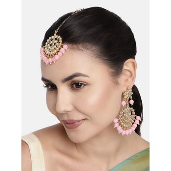 Traditional Pink Gold Plated Pearl And Kundan Maang Tikka With Earring Set For Women