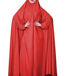 Women Red Color Hosiery Plain Arabic Style Chaderi Abaya
