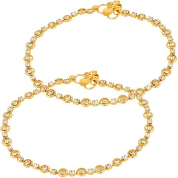 Gold zircon  anklets