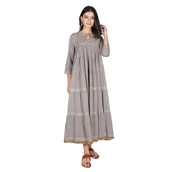 Women's Grey Cotton Anarkali Kurti