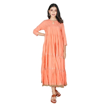 Women's Peach Cotton Anarkali Kurti