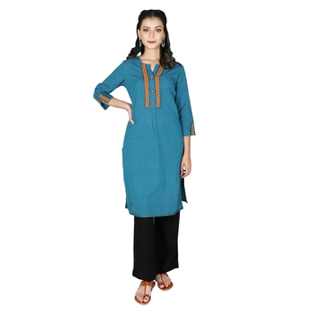 Women's Deep Blue Mangalgiri Solid Straight Kurti