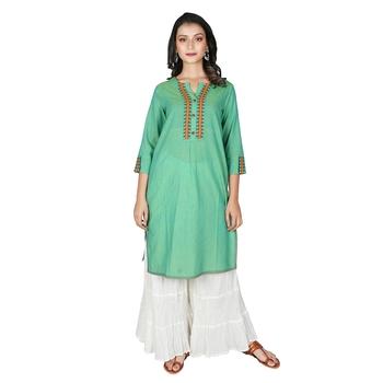 Women's Green Mangalgiri Solid Straight Kurti
