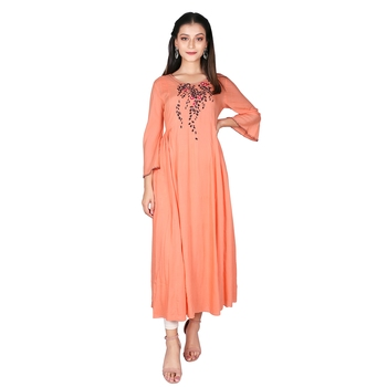 Women's Carrot Orange Modal Solid Embroidery Long Kurti