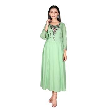 Women's Pista Green Modal Solid Embroidery Long Kurti