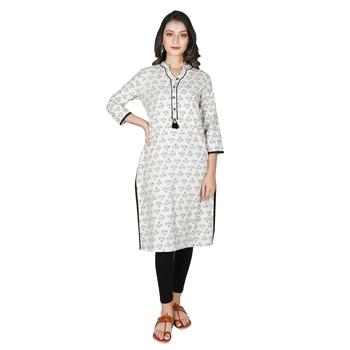 Women's off white Cotton Printed Straight Kurti with Tassels