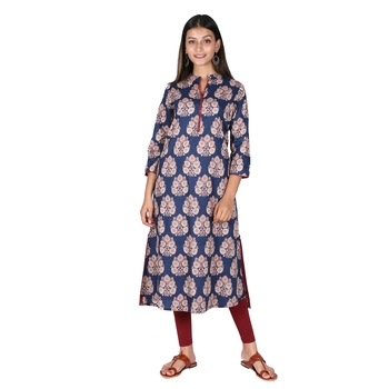 Women's Navy Blue Cotton High Low Printed A-line Kurti