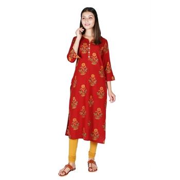Women's Bagru Red Rayon Mughal Print Straight Kurti