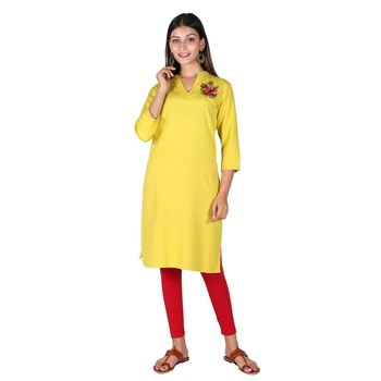 Women's Sheen yellow Cotton Printed A-Line Dress