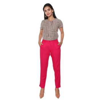 Women Valentine Solid Rayon Staple Pencil Trouser