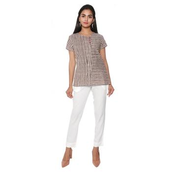 Women White Solid Rayon Staple Pencil Trouser