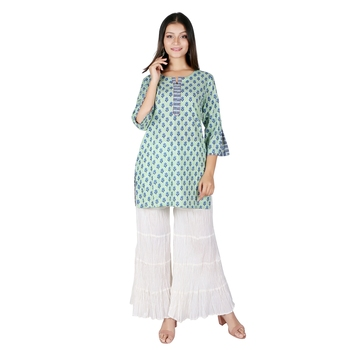 Women Off- White Solid Cotton Sharara