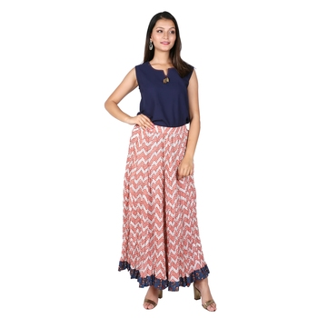Women Bagru Red Printed Cotton Skirt