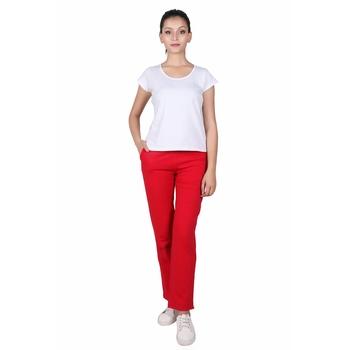 Women Poppy Red Solid Cotton Lycra Yoga Pants