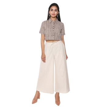 Women Natural Solid Cotton Culottes