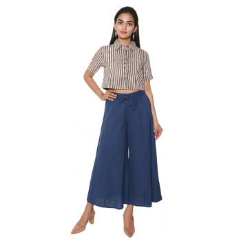 Women Navy Blue Solid Cotton Culottes