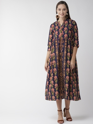Navy-blue printed cotton maxi-dresses