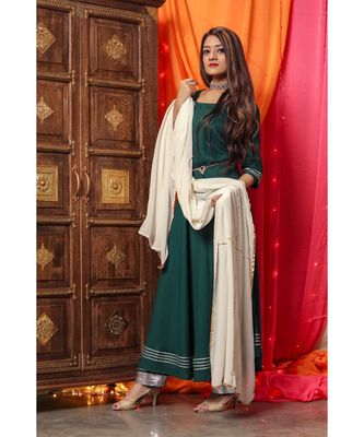 Bottle Green Long Flared Suit Set