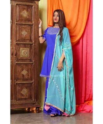 Pastel Blue Gotta Skirt Dress with dupatta