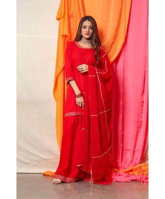 Rose Red Golden Gotta Skirt Dress with dupatta