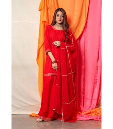 Rose Red Golden Gotta Skirt Dress with dupatta