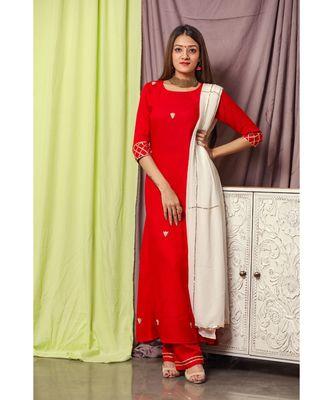 Cherry Red Gotta Design Suit Set