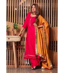 Ravishing Pink Gotta Suit Set With Yellow Dupatta
