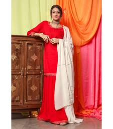 Hot Red Gotta Dress With White Dupatta