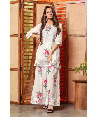 White Rose Floral Handblock Kurta Set