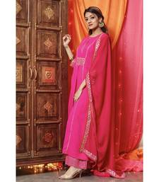 Beautiful Pink Gota Work Suit Set With Pink Dupatta