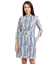 Blue printed cotton short-dresses