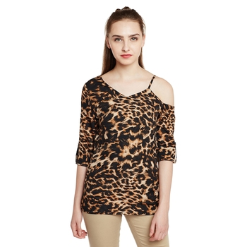 Brown printed cotton party-tops