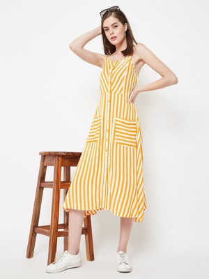 Yellow printed viscose rayon long-dresses