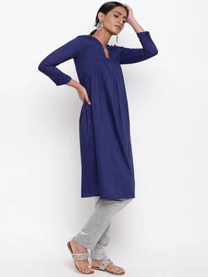 Blue Slit Gathers Kurta-Pant