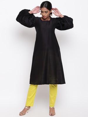 Black Puff Sleeve Kurta-Pant