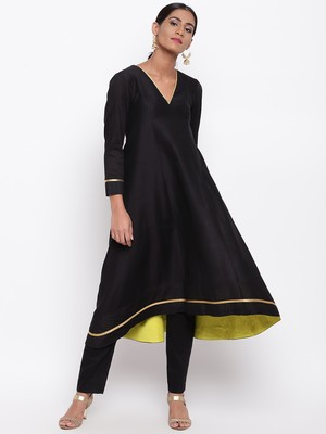 Black Pop Green Kurta-Pant