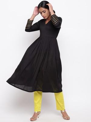Black Embellished Sleeve Kurta-Pant