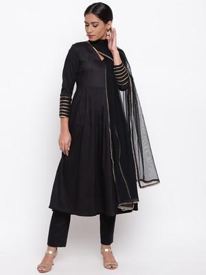 Black Embellished Sleeve Kurta-Pant-Dupatta