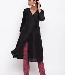 Black Angrakha Red Print Pant